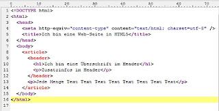 HTML5 Strukturbeispiel