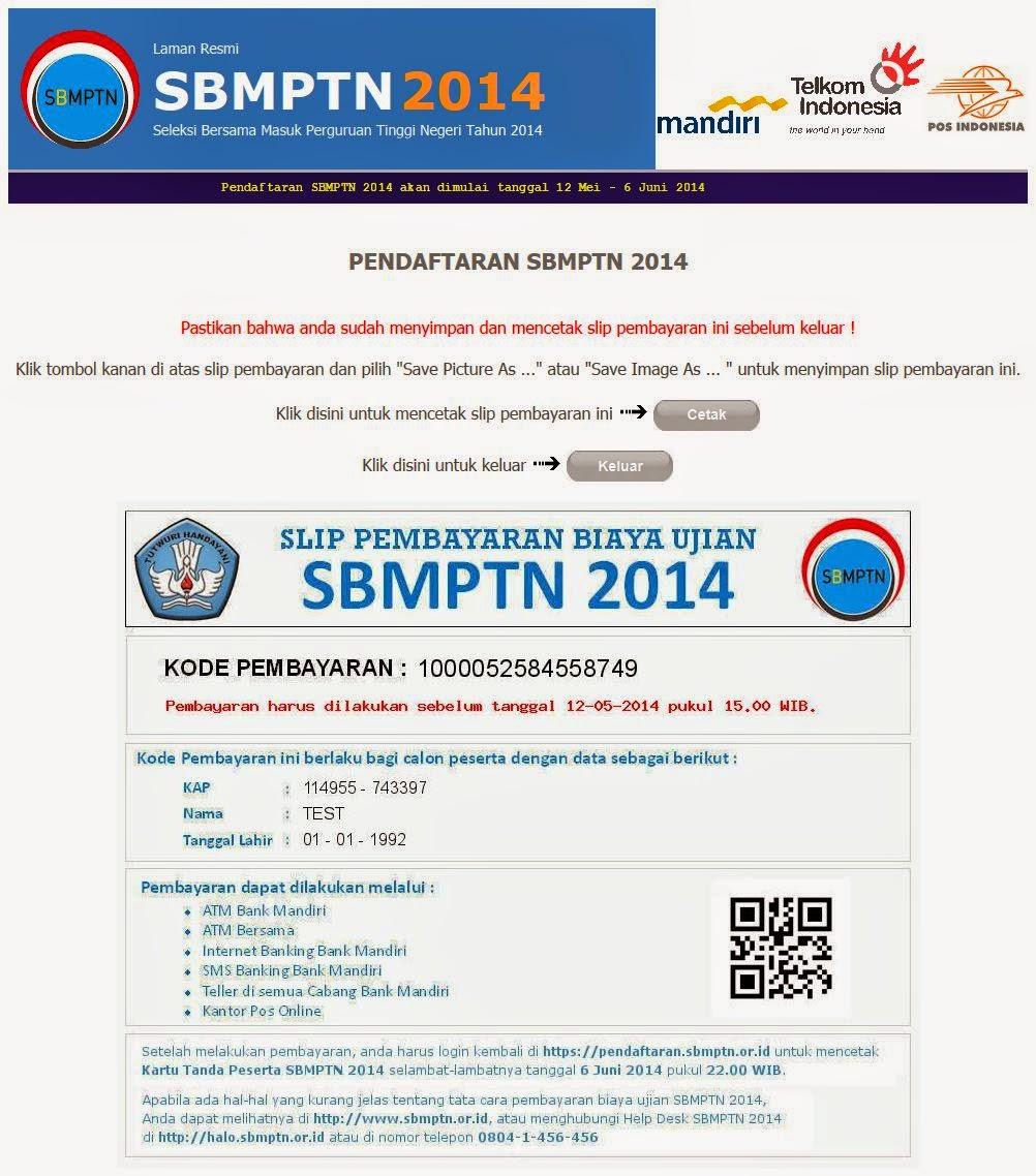 TAMPILAN SLIP PEMBAYARAN BIAYA UJIAN SBMPTN 2014