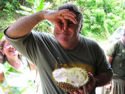 Durián fruta apestosa,  comer barato en viajes, round the world, mundoporlibre.com