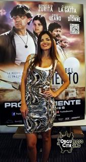 Claudia la Gatta en la presentación en México de la película 'Travesía del Desierto'