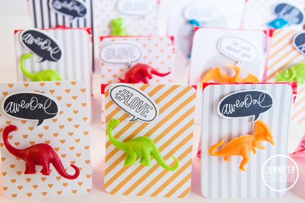 Dinosaur Valentine's Day Cards @createoften @heidiswapp @beckyhigginsllc #valentines #day #cards #dinosaur #projectlife