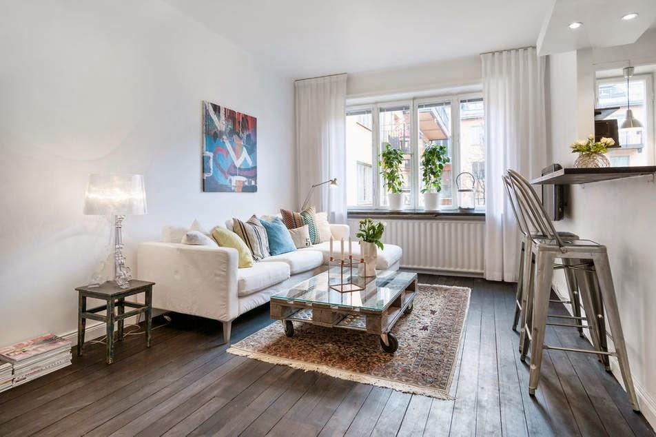 Un peque o estudio bien distribuido decorar tu casa es - Como decorar un piso de 90 metros cuadrados ...