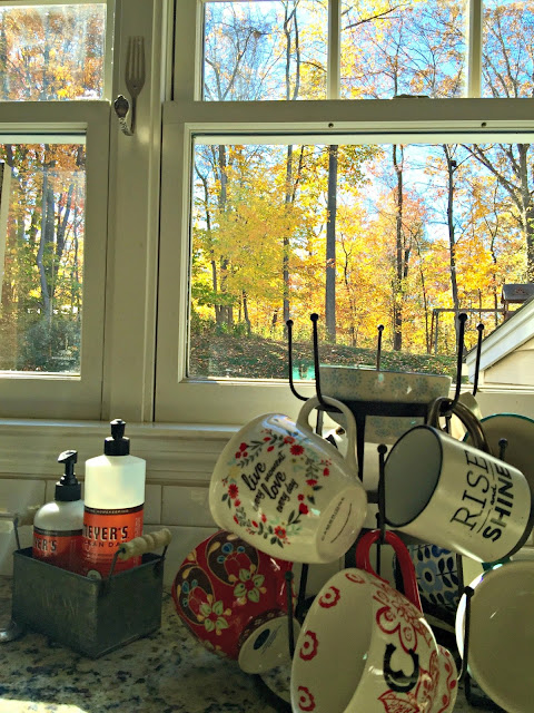 Fall foliage and World Market mug rack - www.goldenboysandme.com