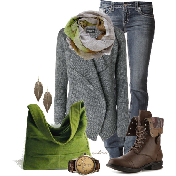 Green hand bag, brown army shoes, scarf, long sweater and leaf ear rings