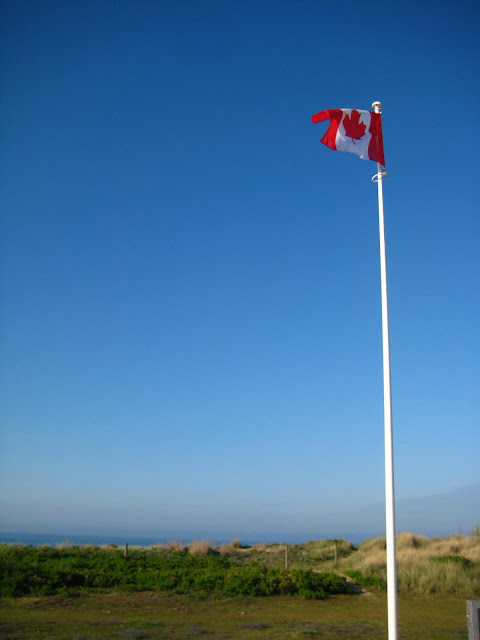 Canadian flag at Juno Beach, France.