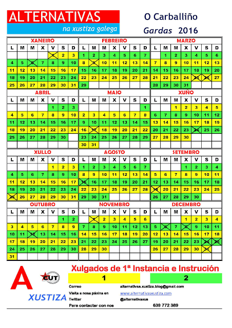 Carballiño. Calendario gardas 2016