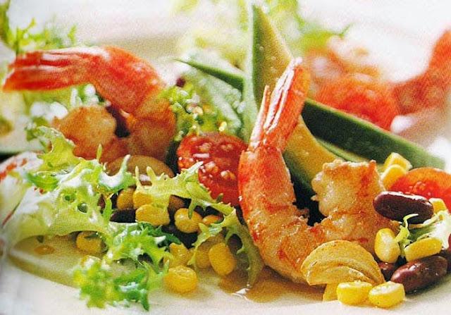 ensalada, aguacate, maíz, langostinos, ensaladas, receta, alimentación, recetas sanas