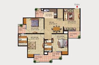 Livingston :: Floor Plans,Block D:-3 BHK (Type D2)3 Bedroom, 2 Toilet, Kitchen, Dining, Drawing, 3 Balconies, Store/Puja Room Super Area - 1625 Sq Ft