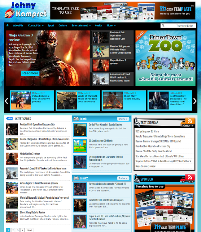 Template Johny Kampret - Theme Game Blog
