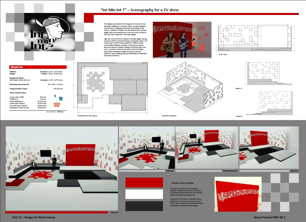 Shaun Fenech Concept Chart Studio Set Design