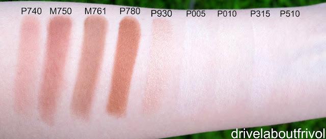 Shu Uemura blush swatch P 740, M 750, M 761, P 780, P 930, P 005, P 010, P 315, P 510