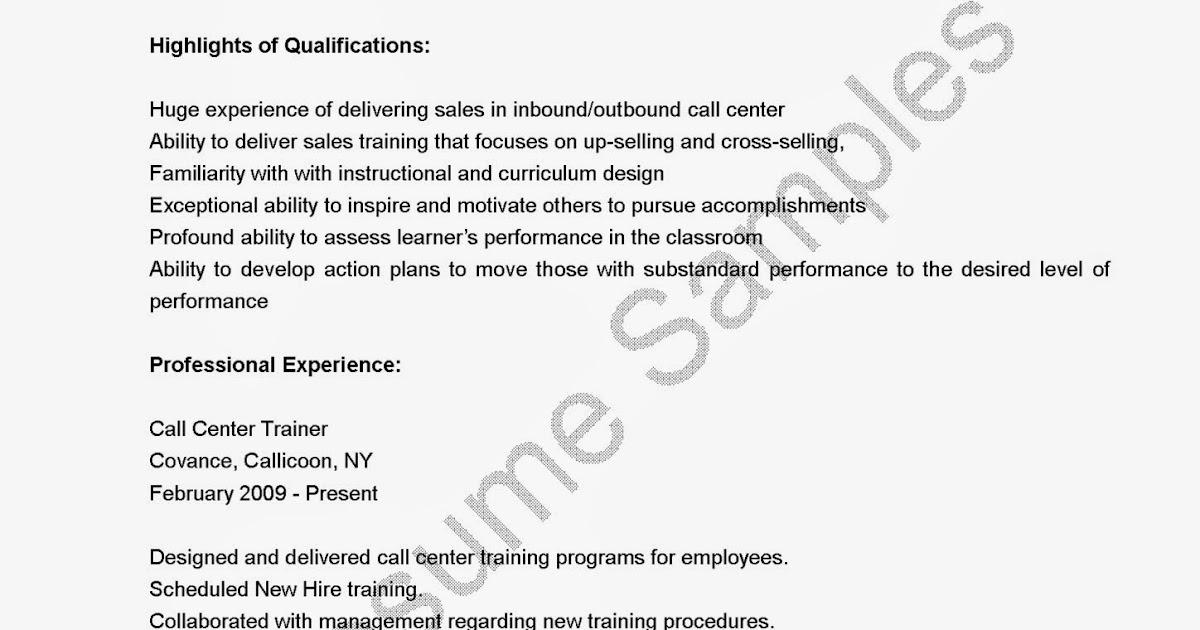 resume samples  call center trainer resume sample