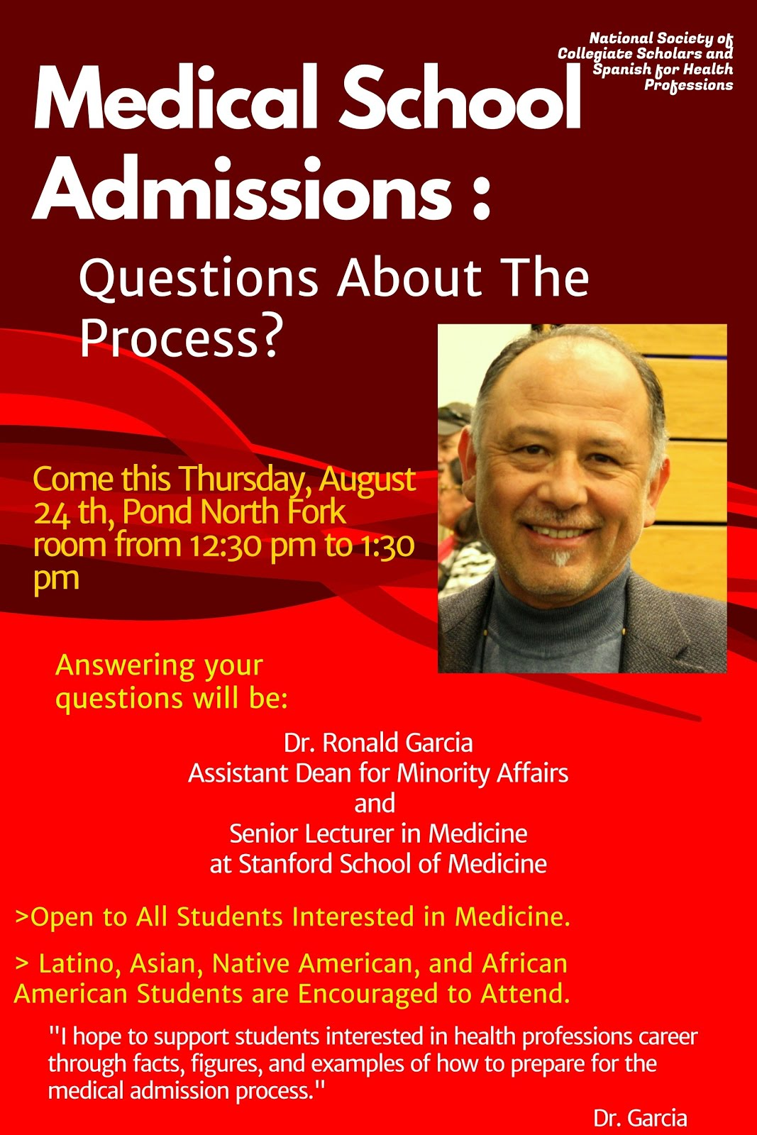 questions about the process of applying to medical school the presentation will take place between 12 30 1 30 pm in the north fork room of the sub