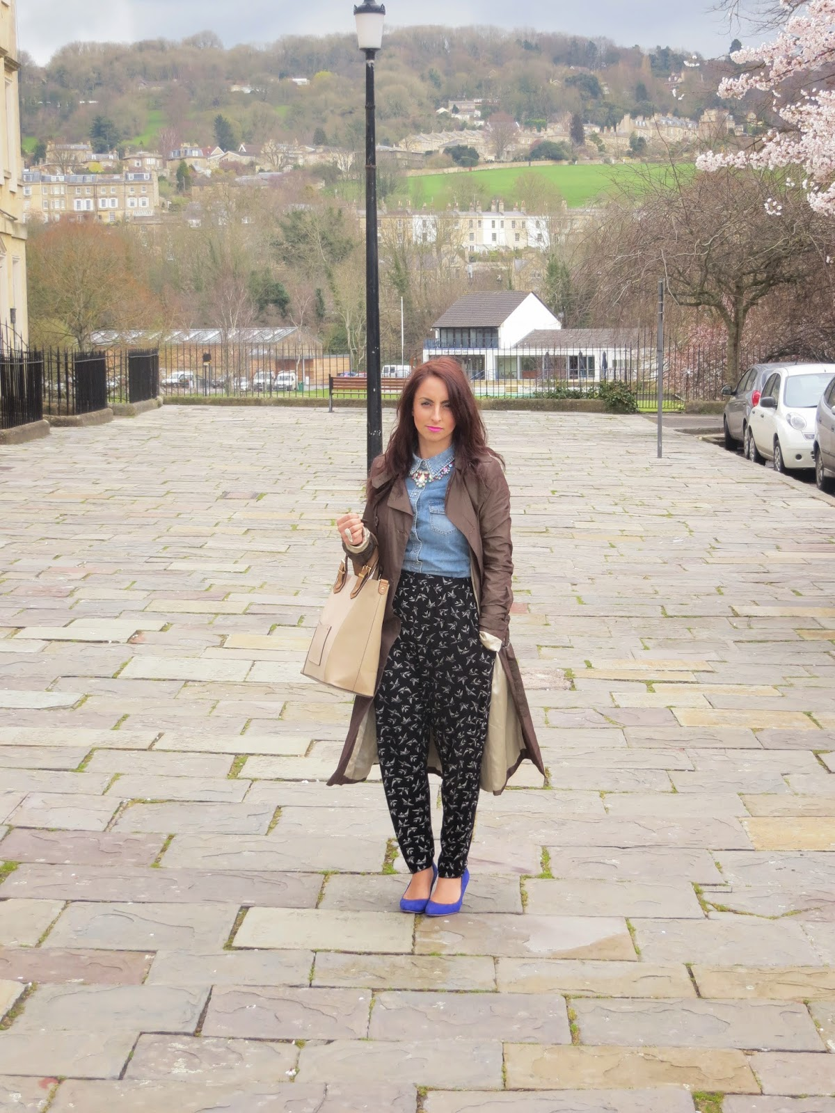 Topshop, New look, Accessorize, Bag, H&M, Coat, Trousers, Shoes, statement necklace, How to, OOTD, outfit, fashion blogger, Bath
