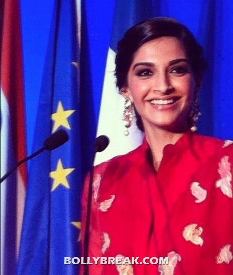 Sonam Kapoor in red dress at Fete Nationale -  Sonam Kapoor at the Fete Nationale