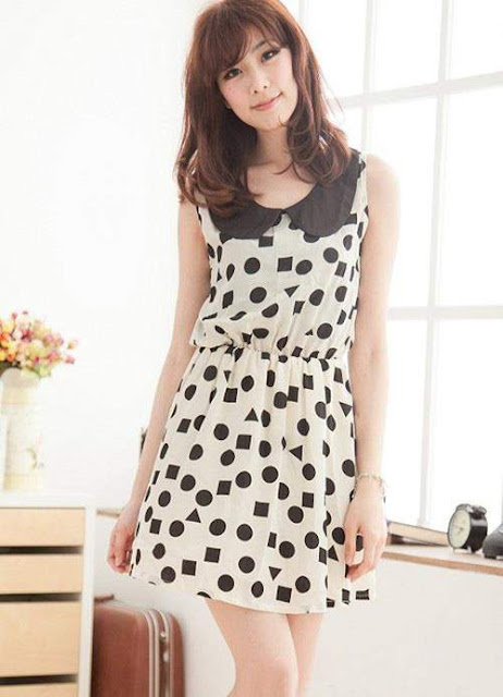 Dress Putih Polka dot