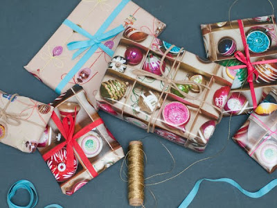 Vintage Baubles wrapping paper by Ella Doran