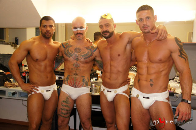 male dancers in underwear at white party