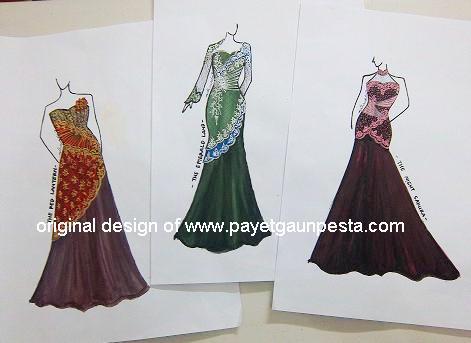   Desain Baju Pesta, Kebaya Modern dan Gaun Pengantin: Sketsa Desain ...