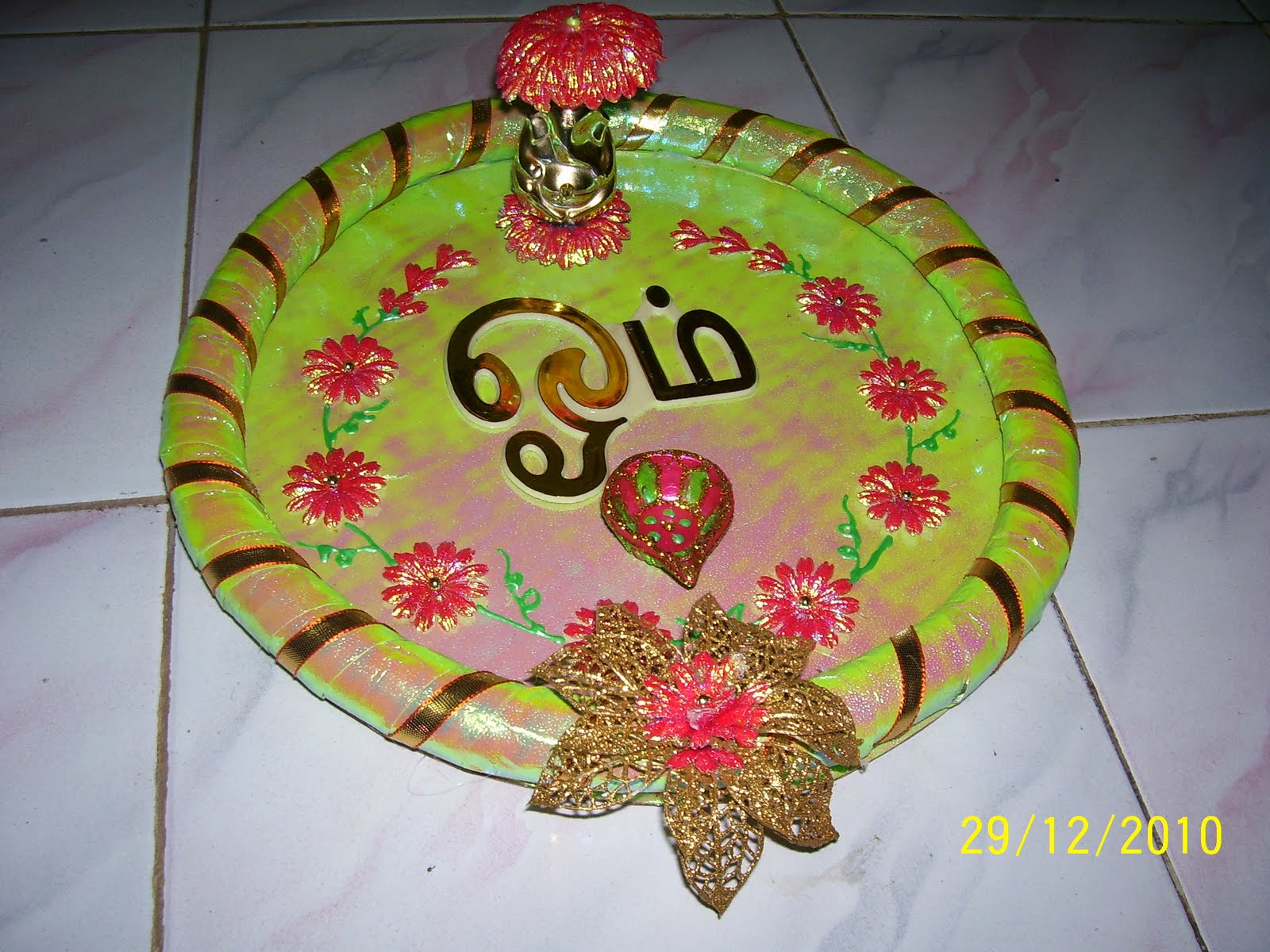 Bhuvana 39 s creative world aarthi plates for Aarthi plates decoration