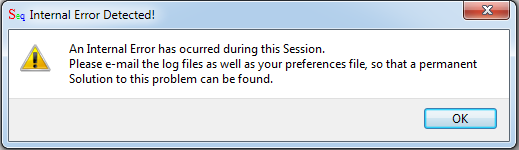 Sequalator error message