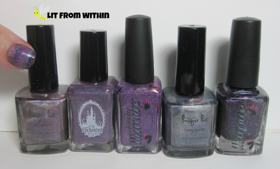 Bottle shot:  Lacquer Lust Amethyst, Enchanted Polish Mercy, Colors by Llarowe Tank Tops and Flip Flops,  Lacquer Lust Tanzanite, Colors by Llarowe Woman From Tokyo.