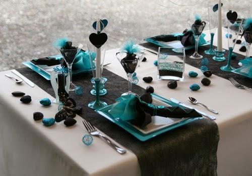 Deco Table Couleur Bleu Turquoise Et Noir : Idée déco pour mariage invitation carte