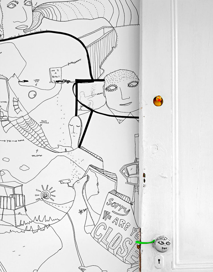 white door hand drawn by Shantell Martin