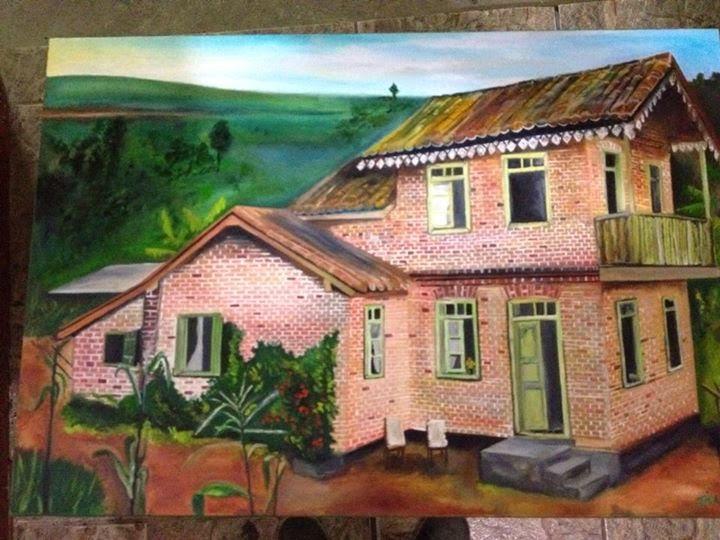 Pintura de casa antiga de colono
