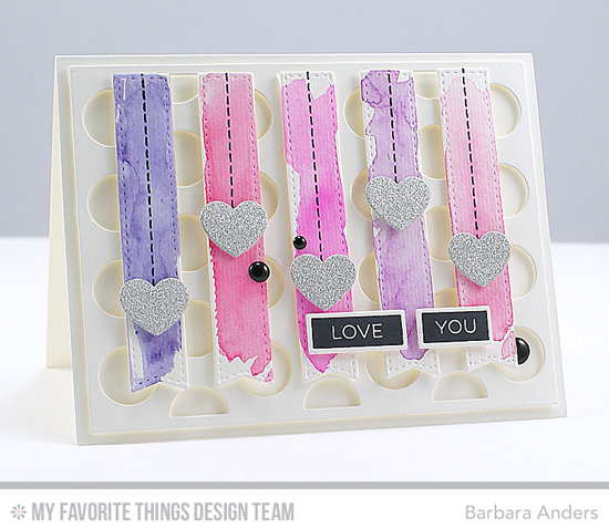 Pastel Love You Card by Barbara Anders featuring the Label Maker Love and Miss Tiina Stitched with Love stamp sets and the Jumbo Dot Cover-Up, Blueprints 8, and Blueprints 20 Die-namics #mftstamps