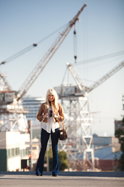 Dale+Steliga+ +Fashion+blog+Savvy+Spice +ultra+flare+jeans%252C+Potrero+Hill+San+Francisco%252C+light+brown+leather+jacket%252C+blond+hair+bangs