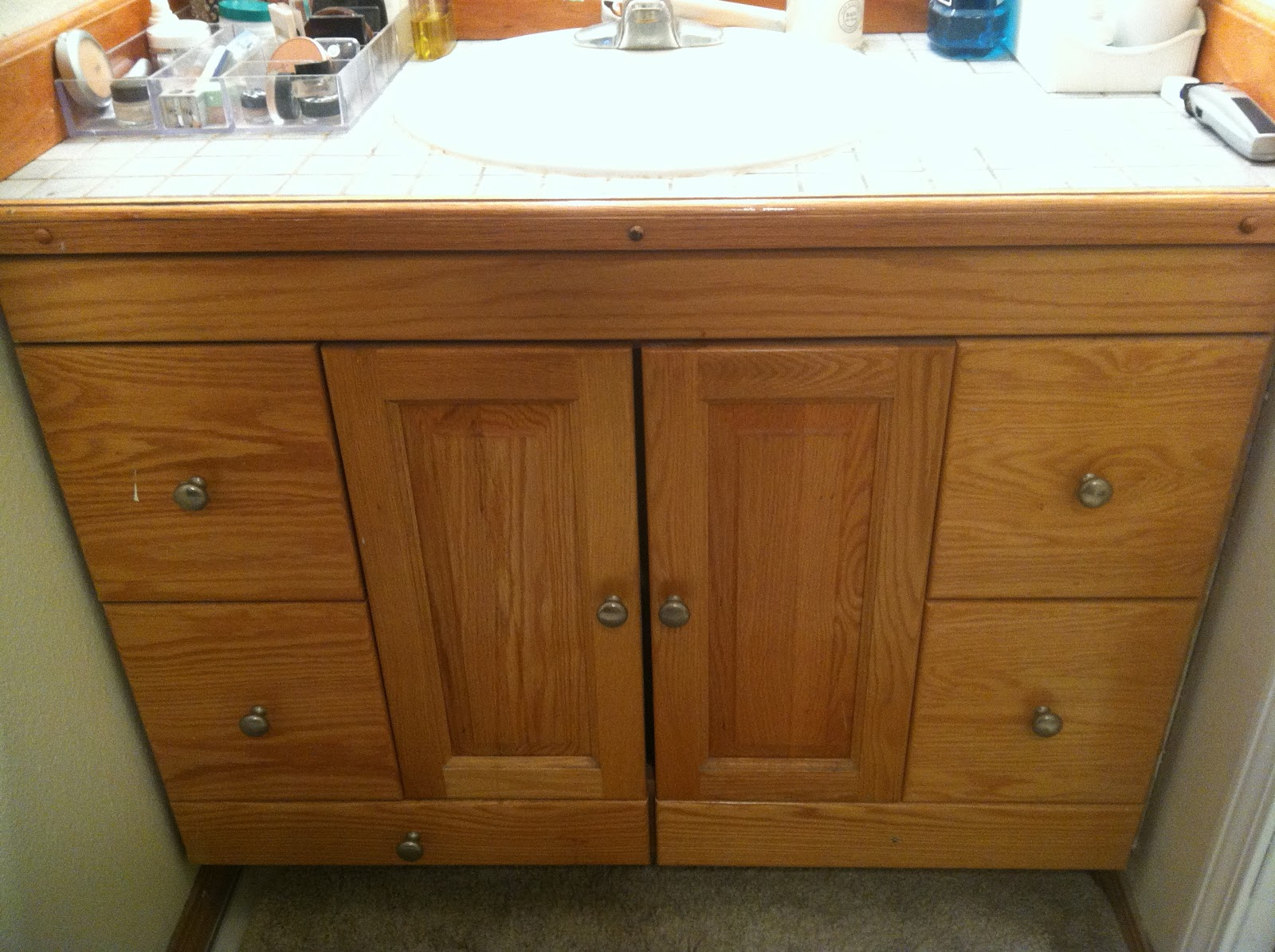 Bathroom Vanity Re Design For Under $60! Staining Oak Cabinets Espresso
