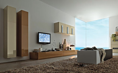 Modern Living Room TV Wall Unit 4 in Beige and Brown Colours