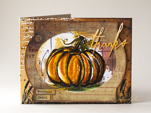 Thanksgiving Card with Pumpkin Sketch from Tim Holtz by Sweet Kobylkin