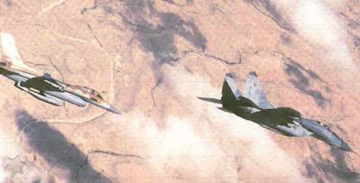 Mig-29 de Israel voando ao lado de um F-16.