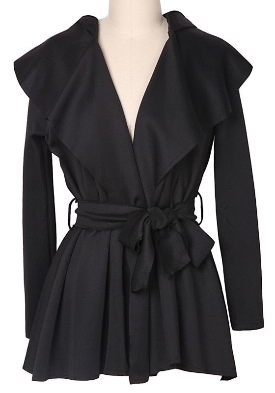 Black Belt Pleated Long Sleeve Polyester Trench Coat
