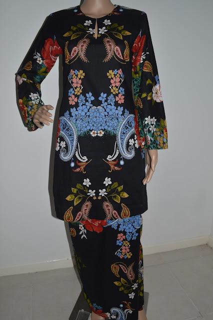 Sample baju kurung moden kain cotton.