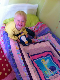Eliza's bed with her duvet cover by Stepford Stitchers