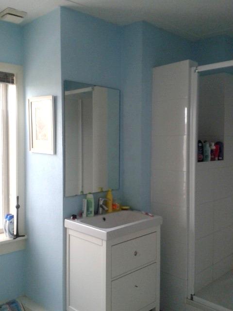 Badkamer van blauw naar groen retroloekie - Badkamer blauw ...
