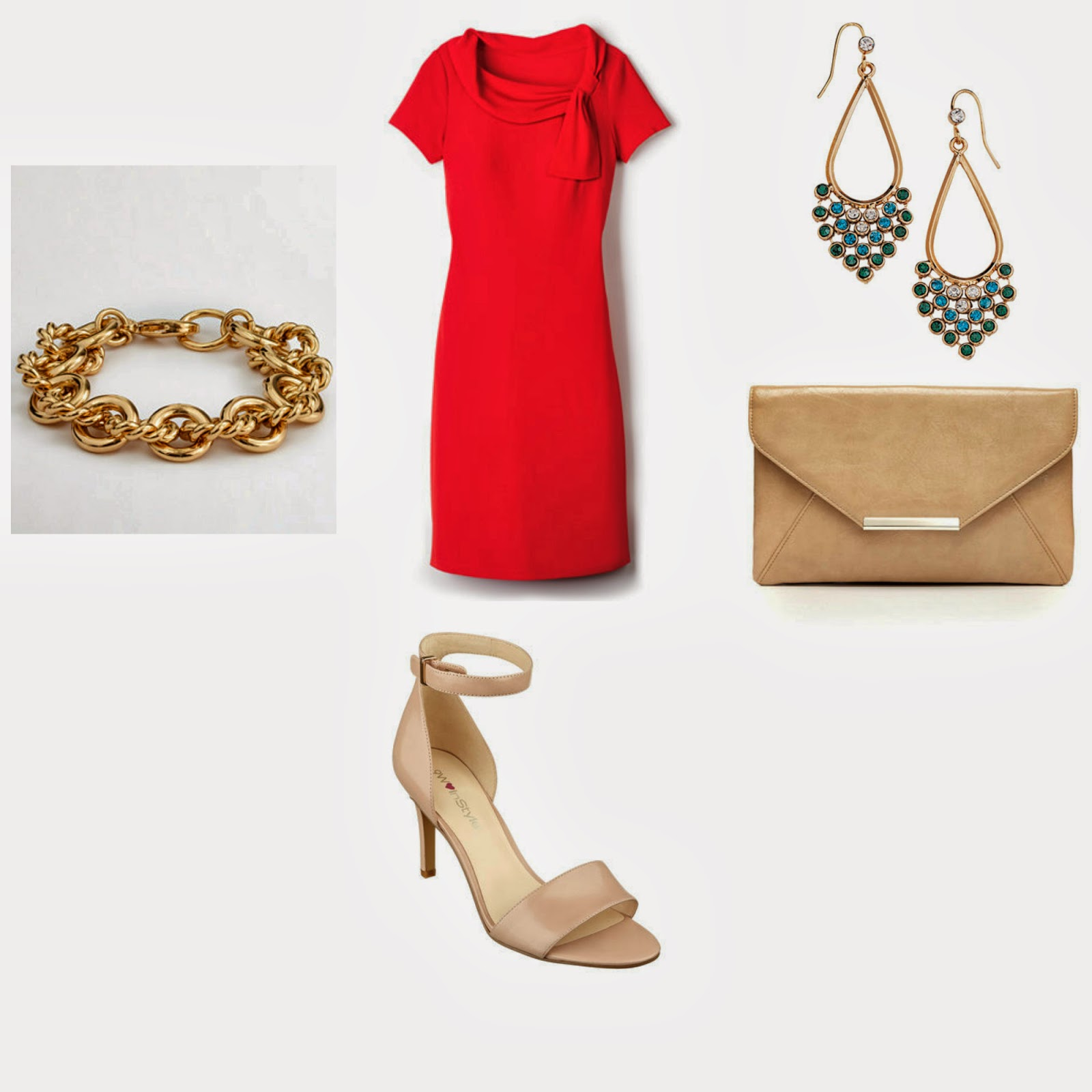 what to wear with a red dress, Green chandelier earrings, J crew bracelet, Nude Sandals