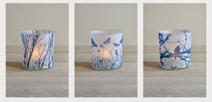 Cyanotype candle holder