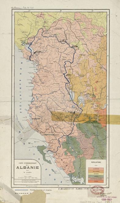 Carte ethnographique de l'Albanie