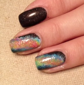 rainbow galaxy nail style for girls