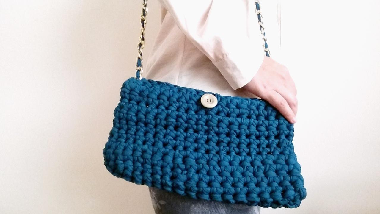 Bolso de trapillo totora con cadena paso a paso for Bolso crochet trapillo