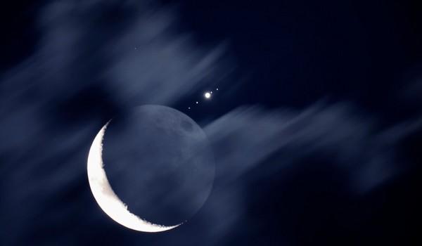 La Luna, Calisto, Ganímedes, Júpiter, Io y Europa