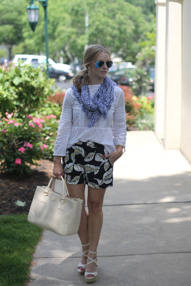 jcrew shorts, tory burch handbag