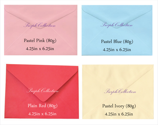 Envelope choices, pastel pink envelope, pastel blue envelope, plain red envelope, pastel ivory envelope