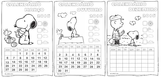 Calendários Mensais do Snoopy para Atividades em sala