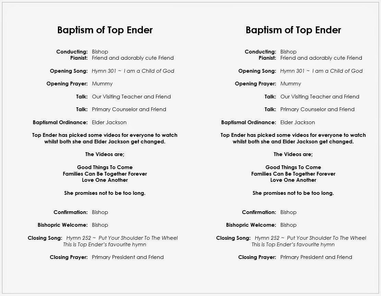 Top Ender's Baptism programmes