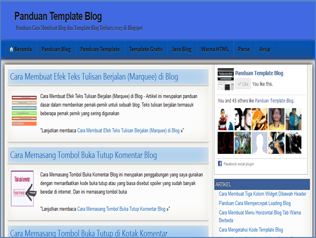 Biru Langit Template Untuk Blogspot